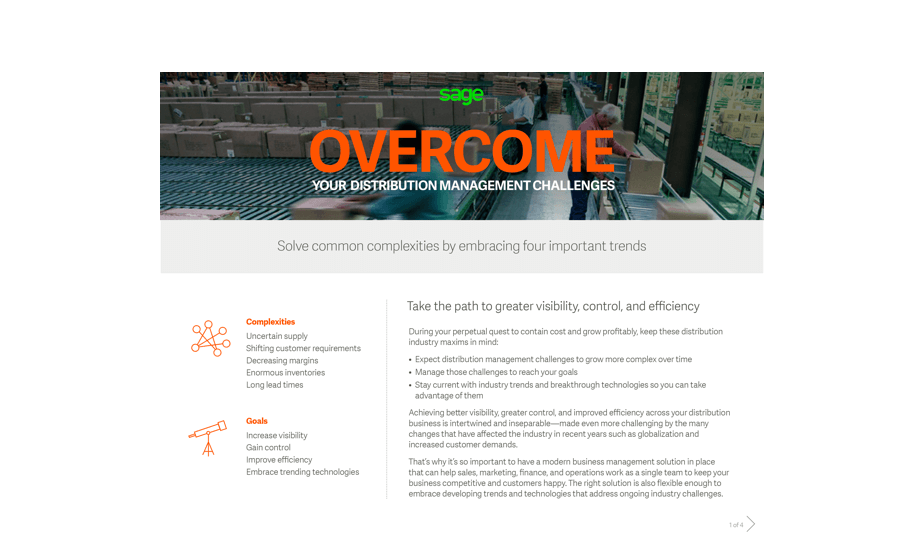 Front cover of a Sage guide: Overcome Your Distribution Management Challenges