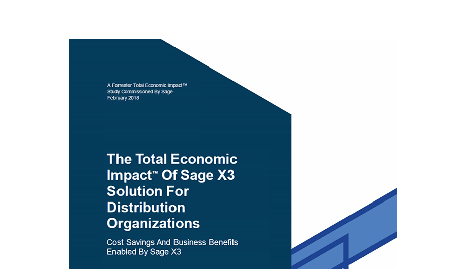 Front cover of a Forrester Report: The TEI of Sage Business Cloud Enterprise Management for Distributions Organizations