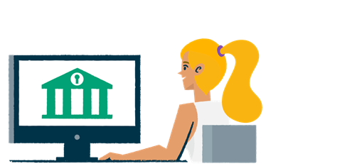 Illustration of a woman using online banking.