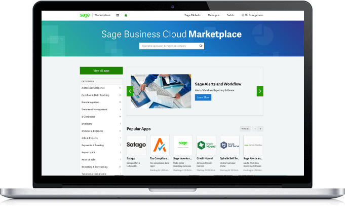 Sage Marketplace home screen