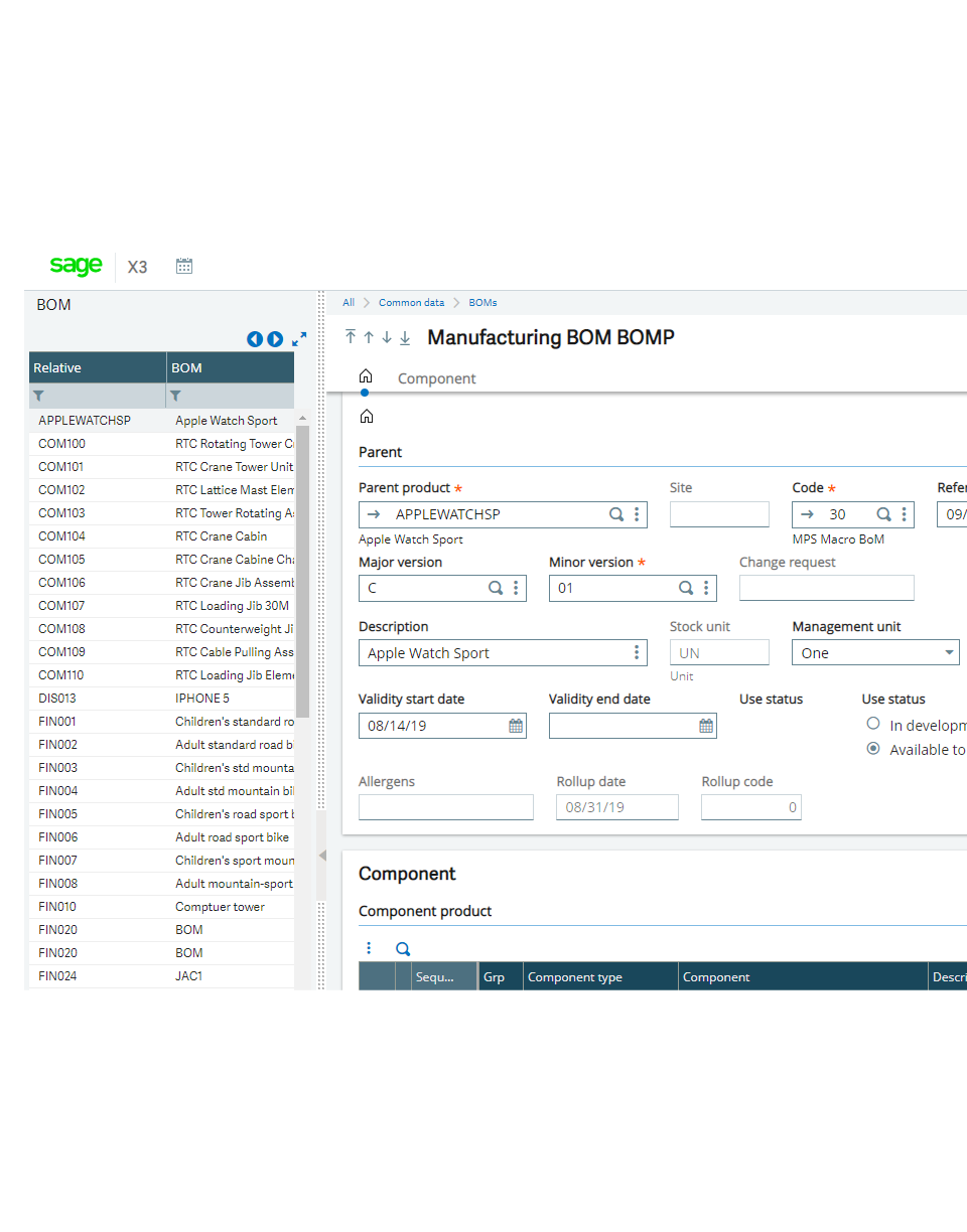 Screenshot of the Sage X3 manufacturing BOM screen