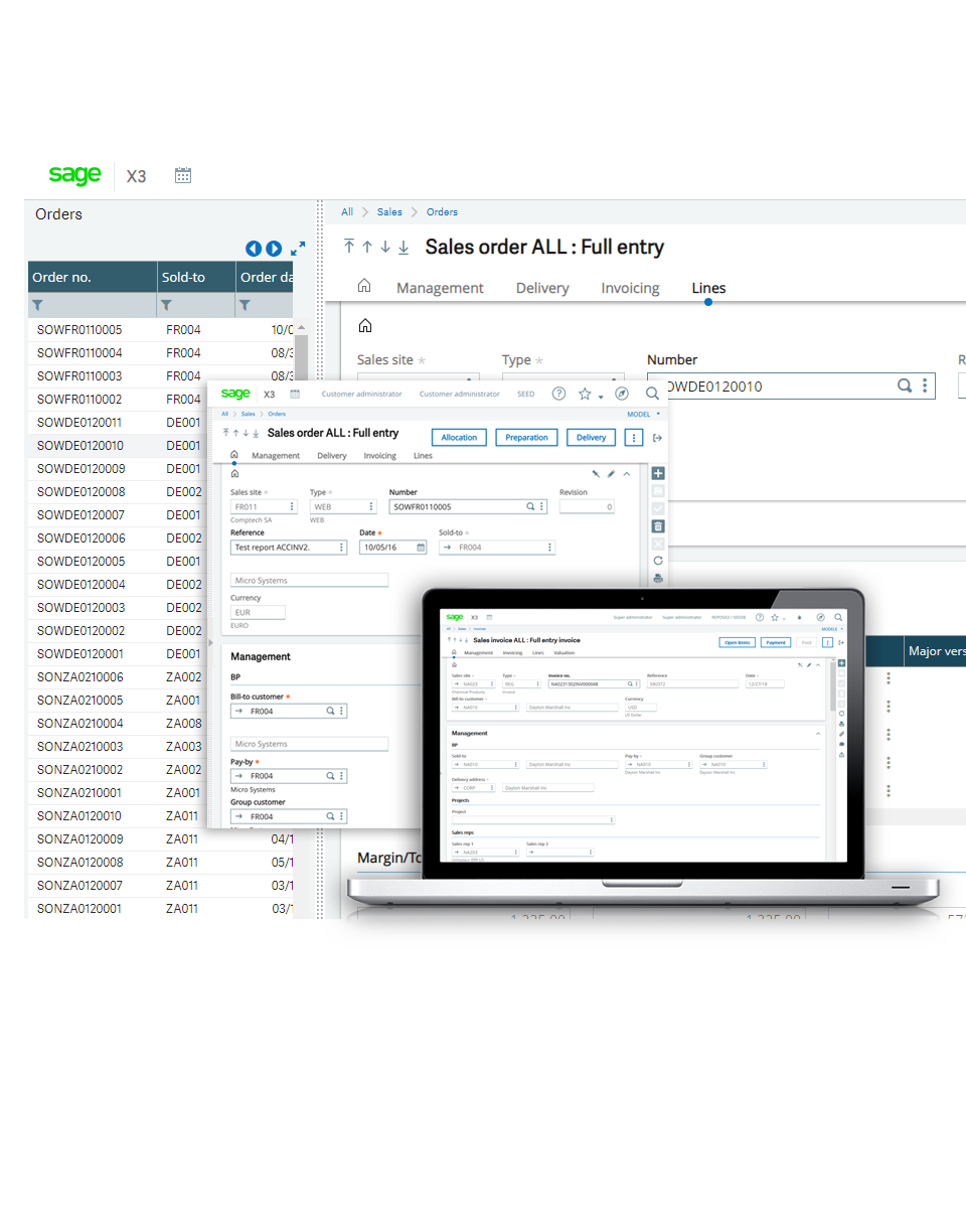 Screenshot of the Sage Enterprise Management sales order screen