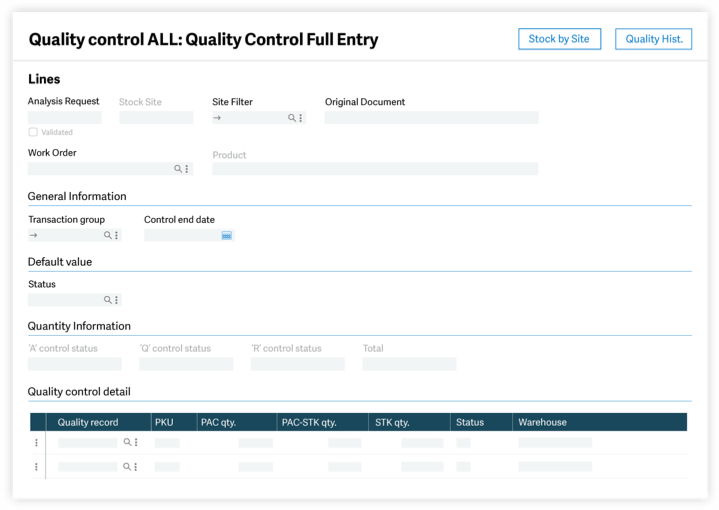 quality control user interface