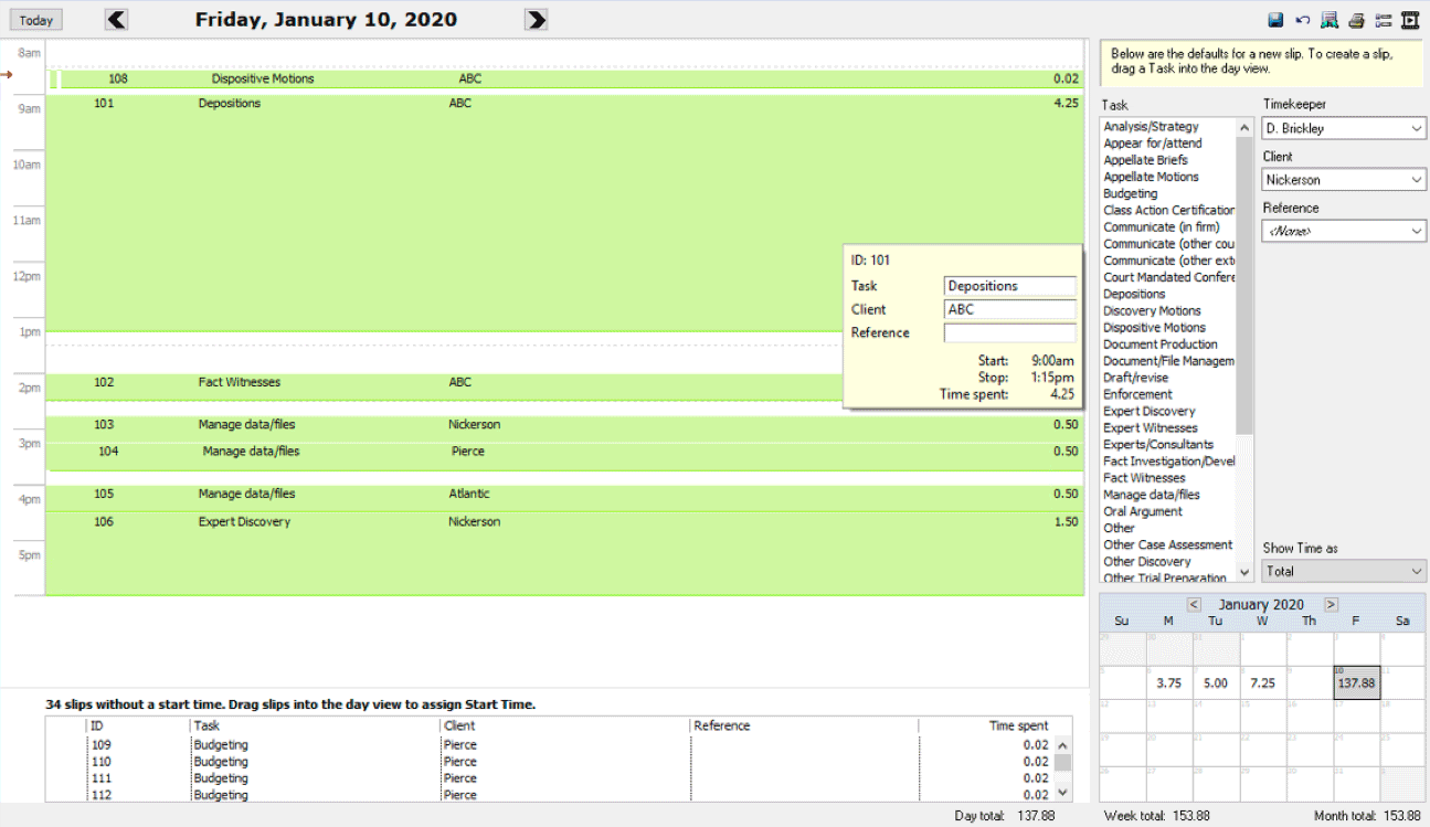 screenshot of Sages Timeslips Day view window