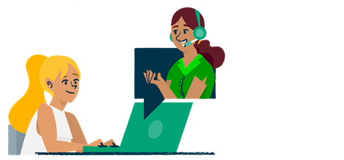 Illustration of a woman using chat to contact support.