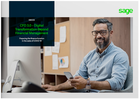 CFO 3.0: Digital transformation beyond financial management: e-book cover image - photo of smiling man sitting in office, with mobile phone