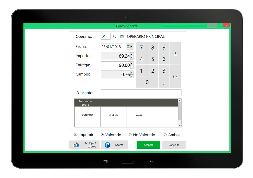 Funcionalidad de cobro de tickets en tablet