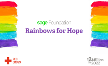 Rainbows for Hope : graphique avec des bandes de couleur arc-en-ciel et du texte : Logos Sage Foundation Rainbows for Hope, Croix-Rouge et $2 Million Challenge.