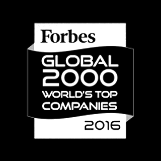 Logo Forbes Global 2000 World's top companies 2016 blanc sur noir