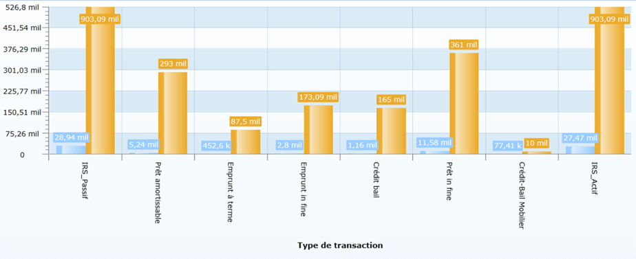 Graphique du type de transaction sur Sage XRT Advanced