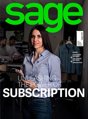 Front cover of Sage 2018 Annual Report and Accounts
