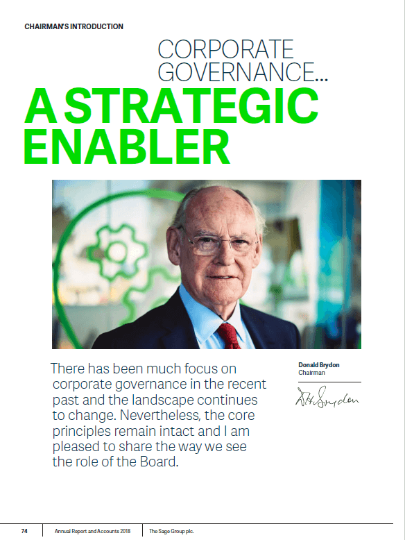 Chairman's introduction page from Sage 2018 annual report