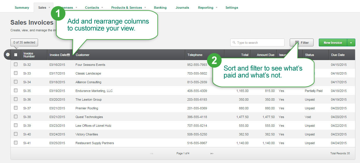 Sage One Online Invoicing Software Sales Invoices Dashboard
