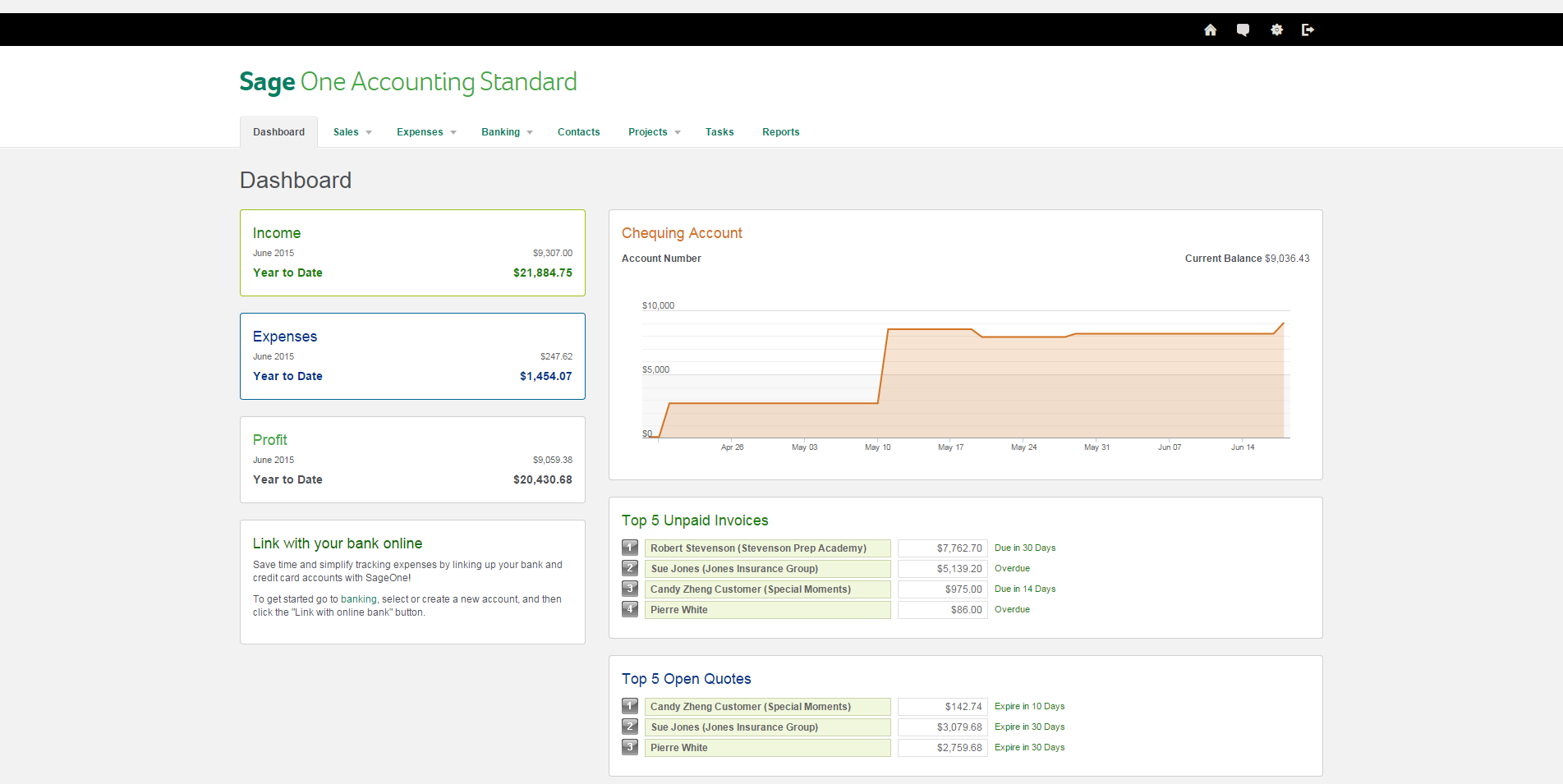 Sage One Sales Dashboard