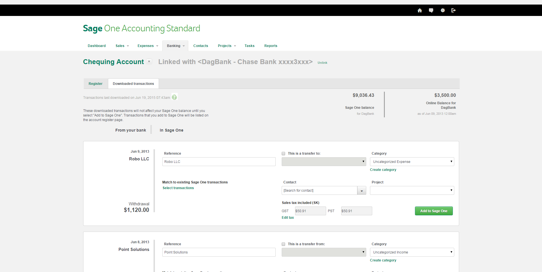 Sage One Bank Reconciliation