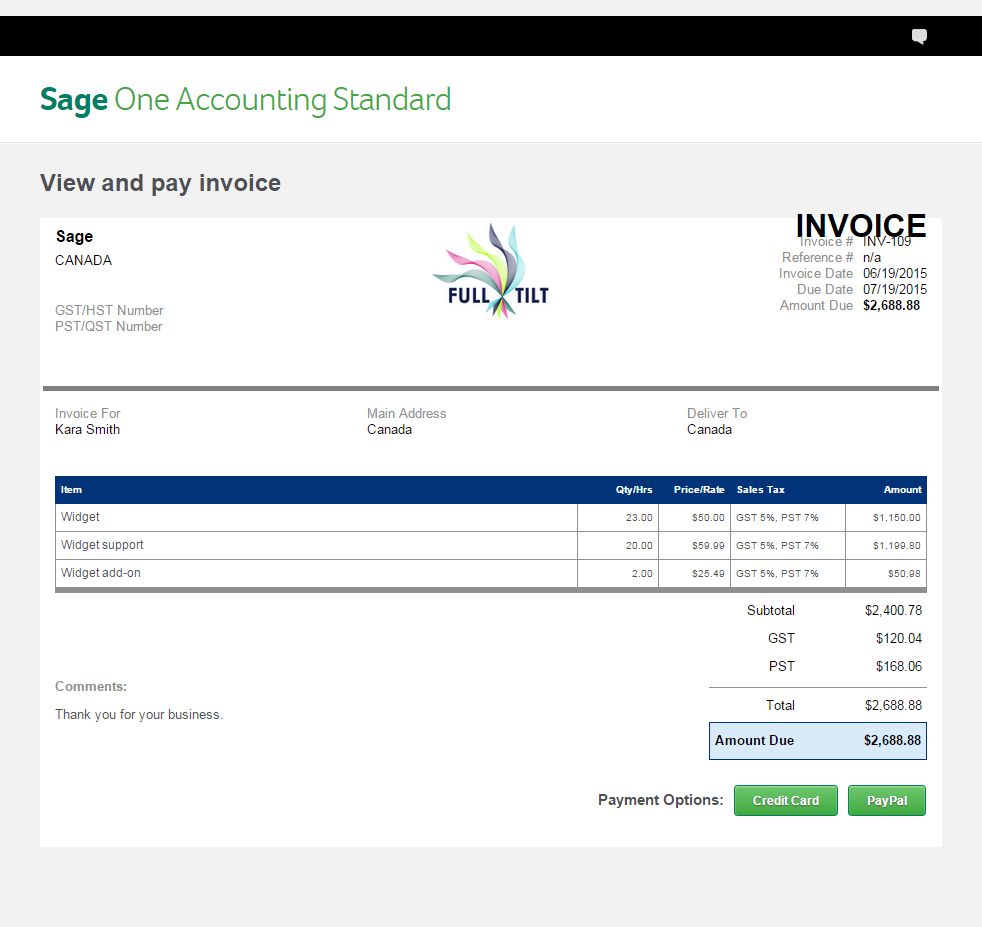 Sage One Custom Invoices