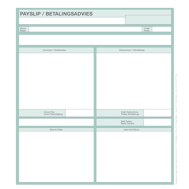 Sage Payroll Payslips – Template for Payslip