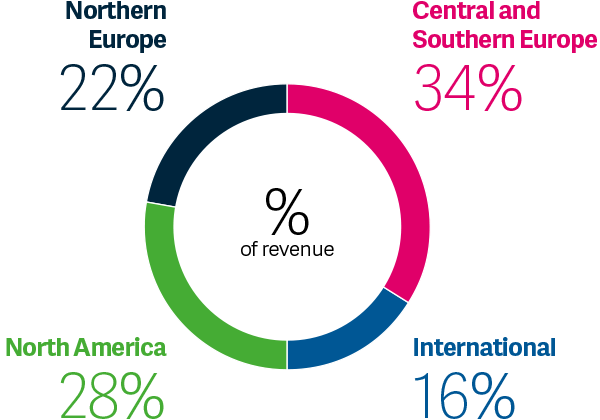 Global reach pie chart