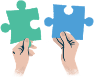 Colourful illustration of hands holding one green and one blue puzzle piece