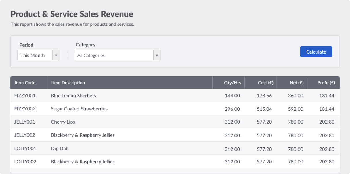 Screenshot of Sage Accounting revenue screen