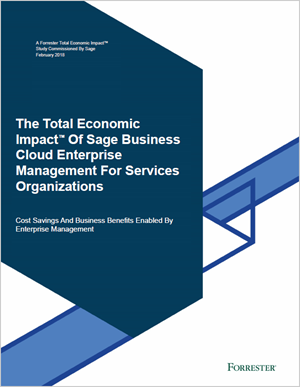 Front cover of Forrester report, The TEI of Sage Business Cloud Enterprise Management for Services Organisations