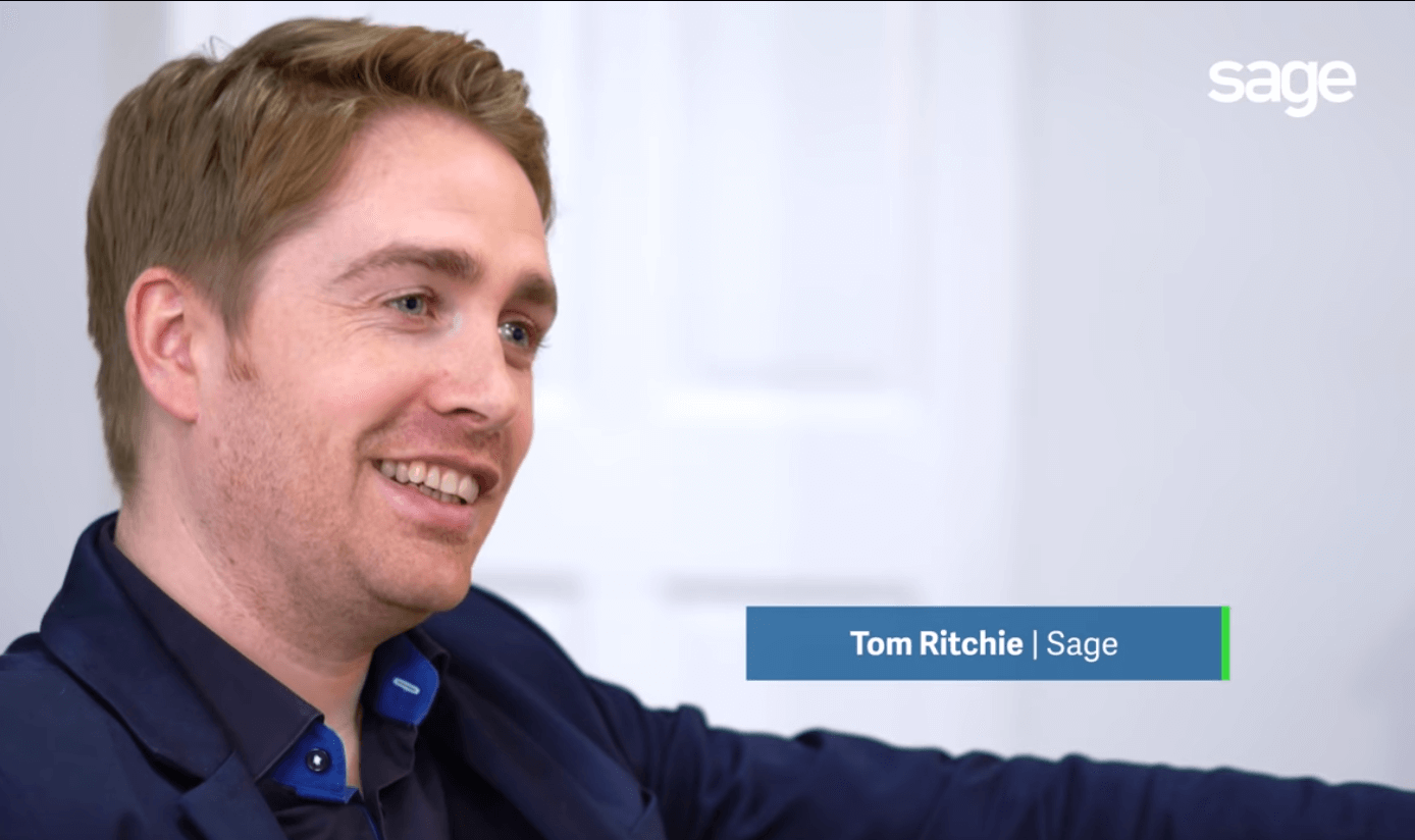 Screenshot from a video featuring Sage Product Marketing Manager, Tom Ritchie