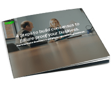 Front cover of Sage guide, 4 Steps to Build Consensus to Future-Proof Your Business