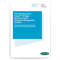 Front cover of the Forrester report, The TEI of Sage Business Cloud Enterprise Management Solution