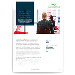 Front page of a Sage business case study of Gap Personnel