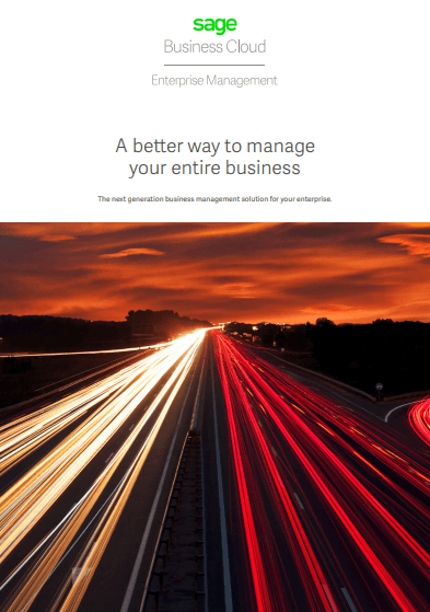 Front cover of Sage Business Cloud Enterprise Management brochure