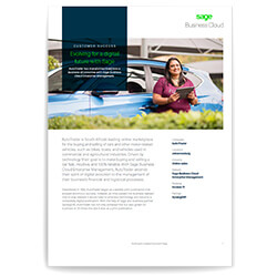 Front page of Sage business case study of Autotrader