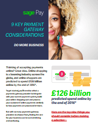 Front page of Sage guide, 9 Key Gateway Payment Considerations