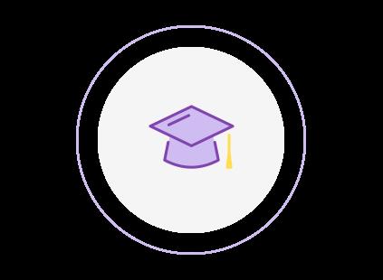 Circular icon of a mortarboard graduation hat