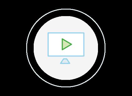Circular icon of a video screen
