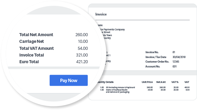 Screenshot of tailored invoice highlighting pay now button