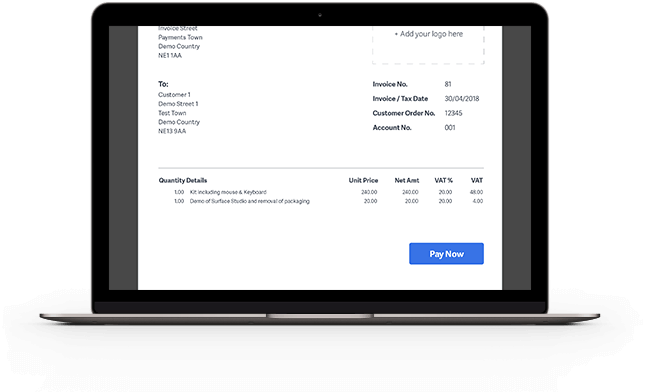 Laptop with invoice template on screen