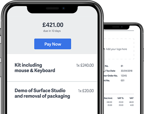 Smartphone with invoice on screen