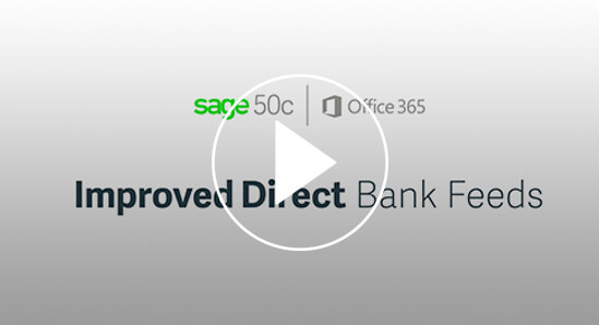 Screenshot from a video about Sage 50cloud and direct bank feeds