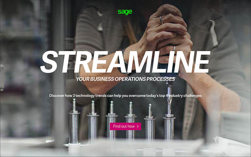 Title screen of Sage online guide, Streamline Your Business Operations Processes