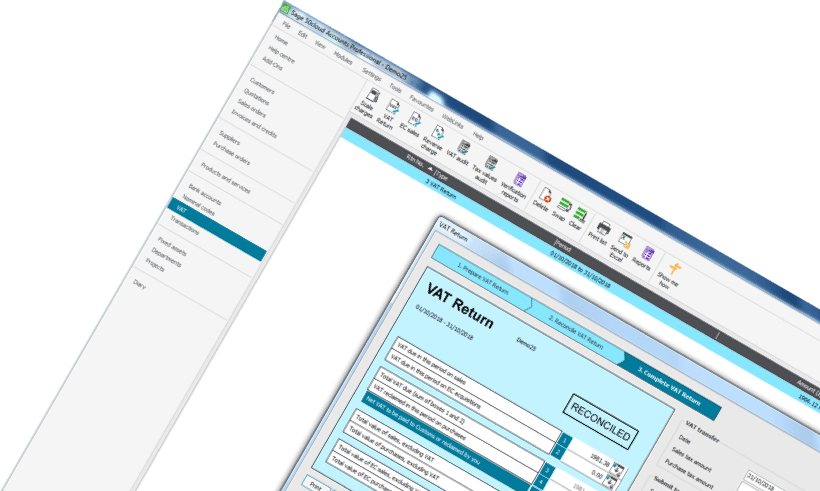 Screenshot of Sage 200 VAT return