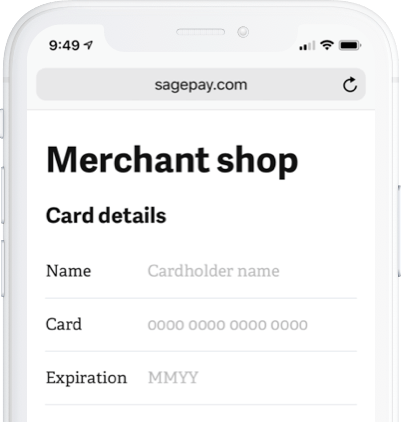 Smartphone with Sage Pay merchant shop on screen