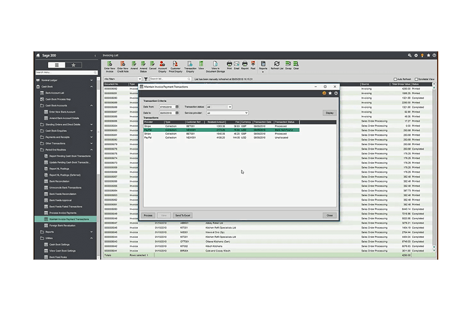 Screenshot of Sage 200 invoice payment screen