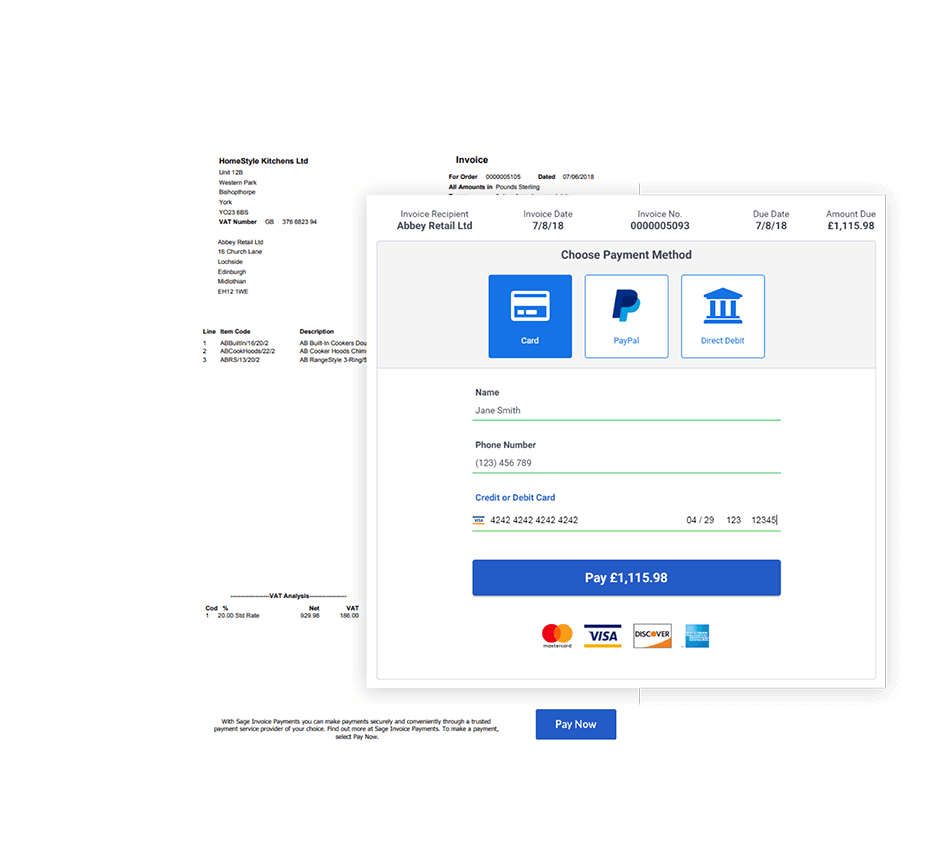 Screenshot of payment choices for invoice