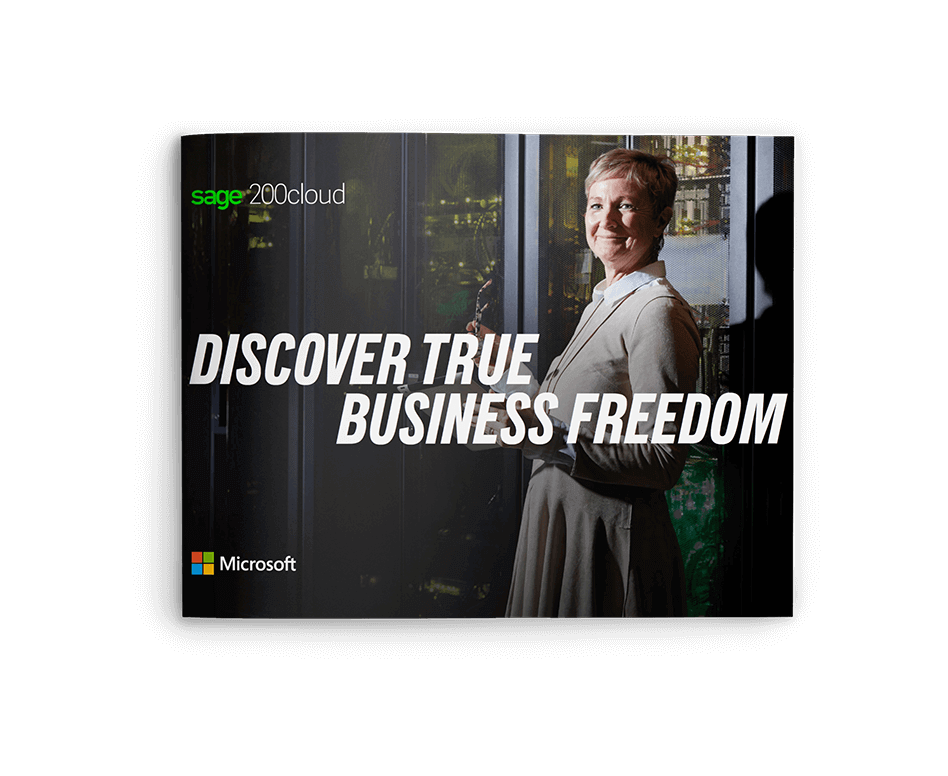 Front cover of Sage brochure, Sage 200cloud Discover True Business Freedom