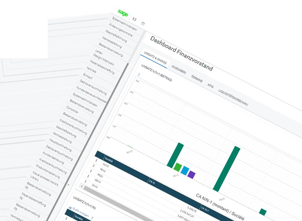 Screenshot of Sage Enterprise Management business intelligence tab