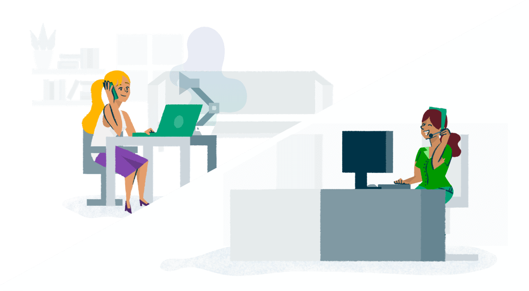 Colourful illustration of a woman sitting at her computer and speaking to a customer services team member