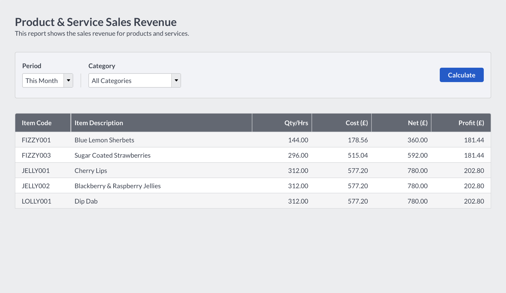 Screenshot of Sage product and service sales revenue screen
