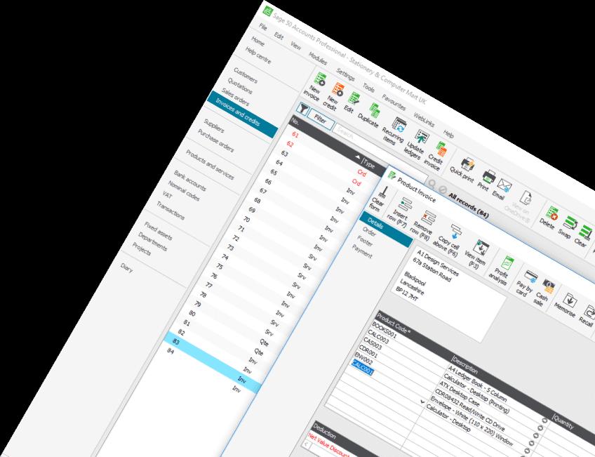 Screenshot of Sage 50 Accounts Professional invoice screen