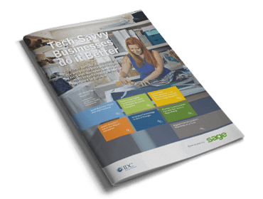 Front cover of Sage guide, Tech Savvy Businesses Do It Better