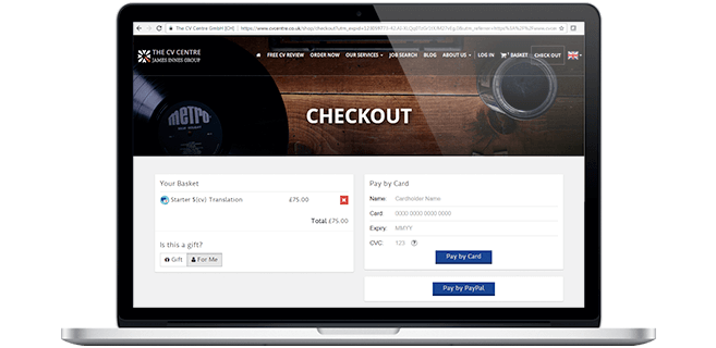 Laptop with the CV Centre checkout process on screen